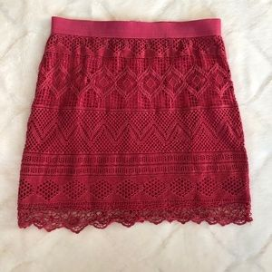 American Eagle Lace Pink Mini Skirt